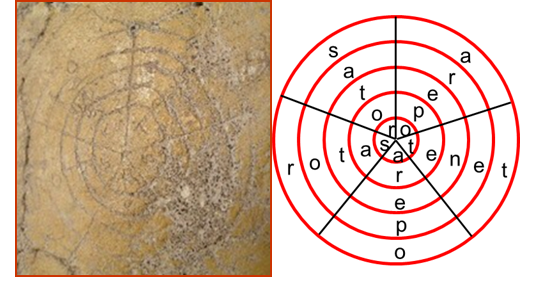immagine che rappresenta un'iscrizione in versione pentalfa
