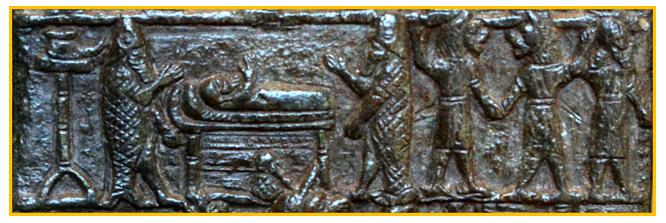 Immagine di una targa di bronzo che rappresenta gli Apkallu